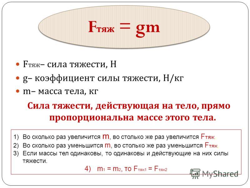 F тяж – сила тяжести, Н g– коэффициент силы тяжести, Н / кг m– масса тела, кг Сила тяжести, действующая на тело, прямо пропорциональна массе этого тела. F тяж = gm 1)Во сколько раз увеличится m, во столько же раз увеличится F тяж. 2)Во сколько раз ум