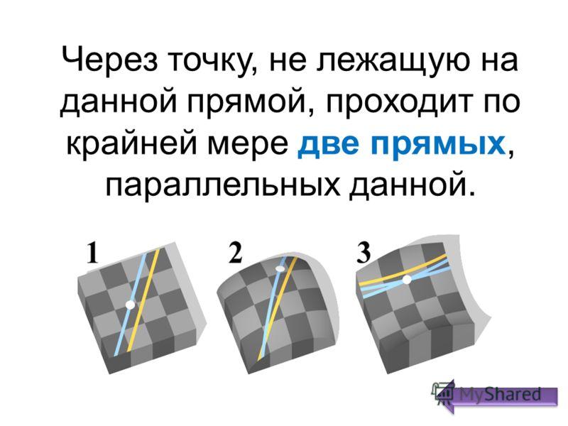 Через точку, не лежащую на данной прямой, проходит по крайней мере две прямых, параллельных данной.