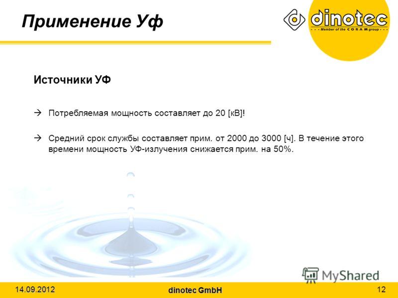 dinotec GmbH 14.09.2012 12 Применение Уф Источники УФ Потребляемая мощность составляет до 20 [кВ]! Средний срок службы составляет прим. от 2000 до 3000 [ч]. В течение этого времени мощность УФ-излучения снижается прим. на 50%.