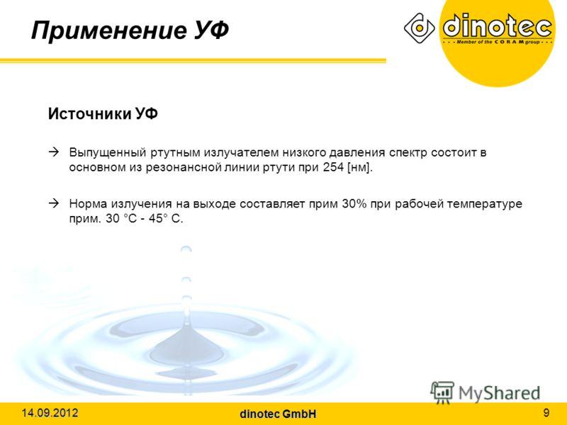 dinotec GmbH 14.09.2012 9 Применение УФ Источники УФ Выпущенный ртутным излучателем низкого давления спектр состоит в основном из резонансной линии ртути при 254 [нм]. Норма излучения на выходе составляет прим 30% при рабочей температуре прим. 30 °C