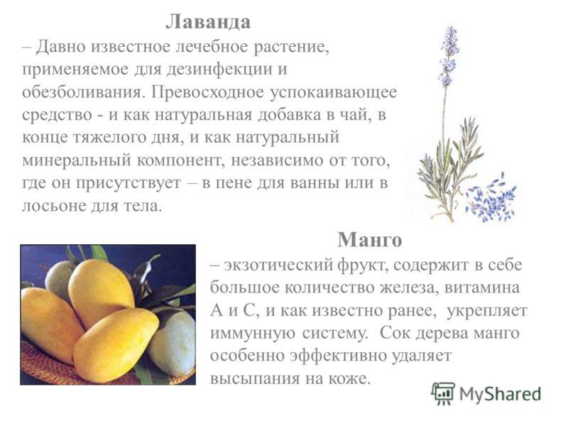 Лаванда – Давно известное лечебное растение, применяемое для дезинфекции и обезболивания. Превосходное успокаивающее средство - и как натуральная добавка в чай, в конце тяжелого дня, и как натуральный минеральный компонент, независимо от того, где он