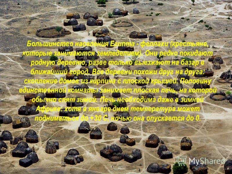 Большинство населения Египта - феллахи (крестьяне, которые занимаются земледелием). Они редко покидают родную деревню, разве только выезжают на базар в ближайший город. Все деревни похожи друг на друга: скопление домов из кирпича с плоской крышей. По