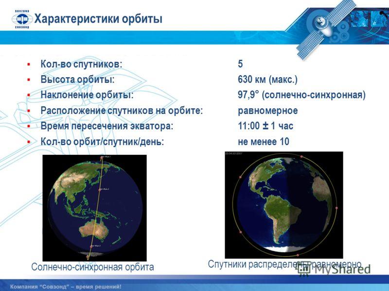 Характеристики орбиты Солнечно-синхронная орбита Спутники распределены равномерно Кол-во спутников:5 Высота орбиты:630 км (макс.) Наклонение орбиты:97,9° (солнечно-синхронная) Расположение спутников на орбите:равномерное Время пересечения экватора:11