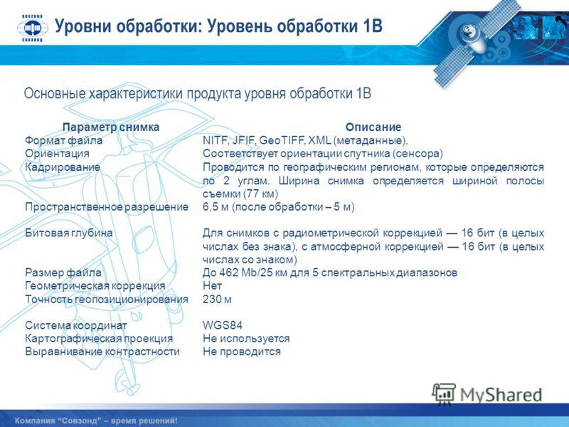 Уровни обработки: Уровень обработки 1B Параметр снимкаОписание Формат файлаNITF, JFIF, GeoTIFF, XML (метаданные), ОриентацияСоответствует ориентации спутника (сенсора) КадрированиеПроводится по географическим регионам, которые определяются по 2 углам