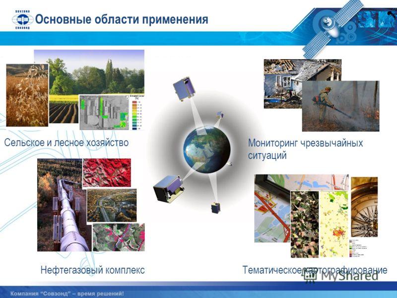 Сельское и лесное хозяйство Мониторинг чрезвычайных ситуаций Основные области применения Нефтегазовый комплексТематическое картографирование