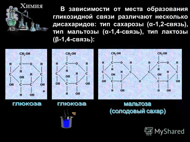 В зависимости от места образования гликозидной связи различают несколько дисахаридов: тип сахарозы (α-1,2-связь), тип мальтозы (α-1,4-связь), тип лактозы (β-1,4-связь): +