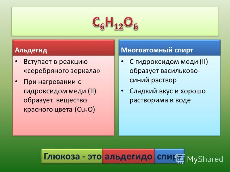 Многоатомный спирт С гидроксидом меди (II) образует васильково- синий раствор Сладкий вкус и хорошо растворима в воде С гидроксидом меди (II) образует васильково- синий раствор Сладкий вкус и хорошо растворима в воде Альдегид Вступает в реакцию «сере