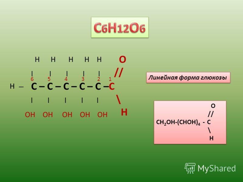 C – C – C – C – C –C | | | | | O // \ H H H H Н H OH OH OH ОН ОH H 6 5 4 3 2 1 Линейная форма глюкозы O // CH 2 OH-(CHOH) 4 - C \ H O // CH 2 OH-(CHOH) 4 - C \ H