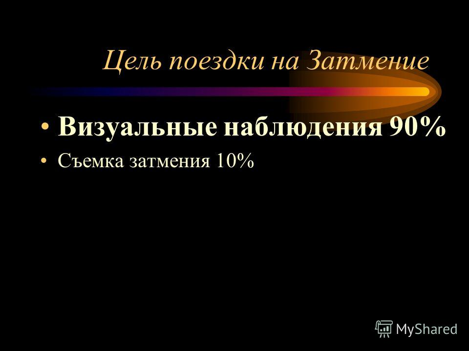 Цель поездки на Затмение Визуальные наблюдения 90% Съемка затмения 10%