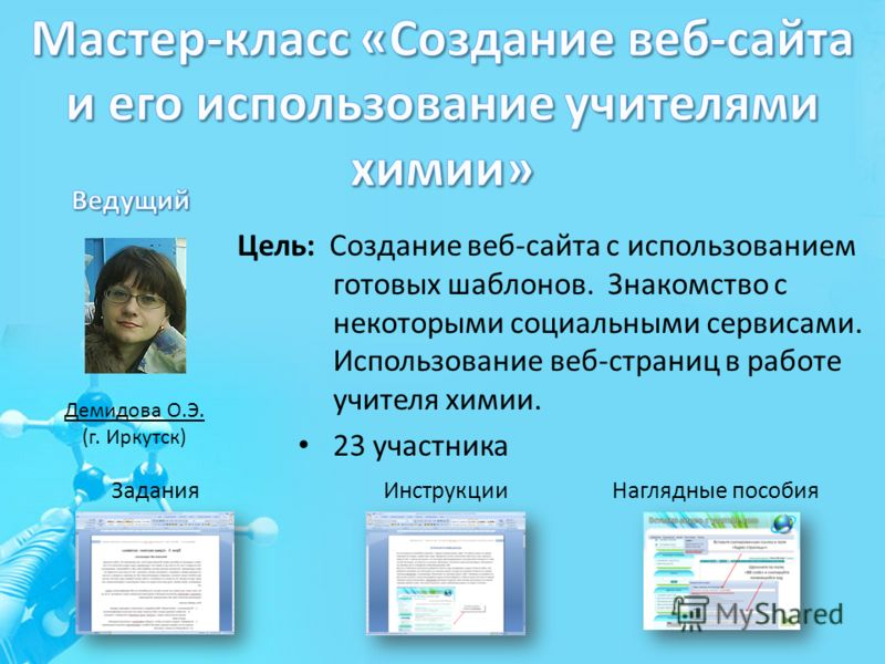 Демидова О.Э. (г. Иркутск) Цель: Создание веб-сайта с использованием готовых шаблонов. Знакомство с некоторыми социальными сервисами. Использование веб-страниц в работе учителя химии. 23 участника ЗаданияИнструкцииНаглядные пособия