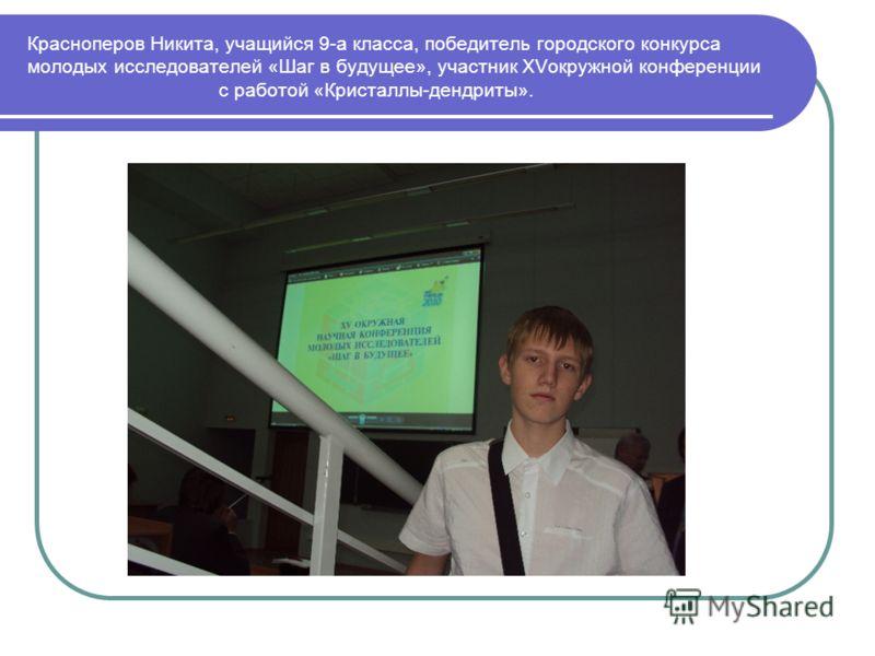 Красноперов Никита, учащийся 9-а класса, победитель городского конкурса молодых исследователей «Шаг в будущее», участник XVокружной конференции с работой «Кристаллы-дендриты».