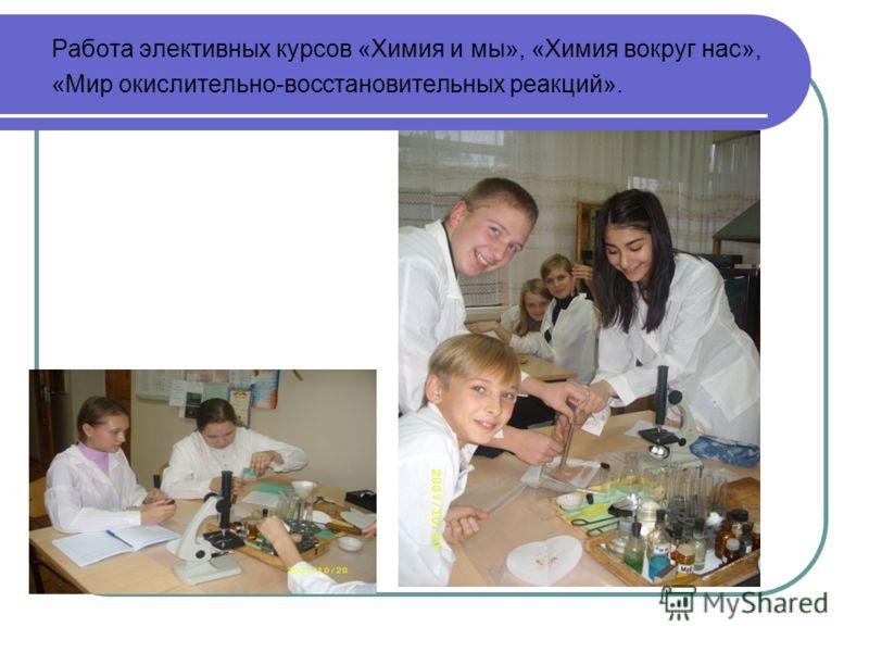 Работа элективных курсов «Химия и мы», «Химия вокруг нас», «Мир окислительно-восстановительных реакций».