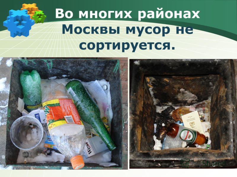 Во многих районах Москвы мусор не сортируется.