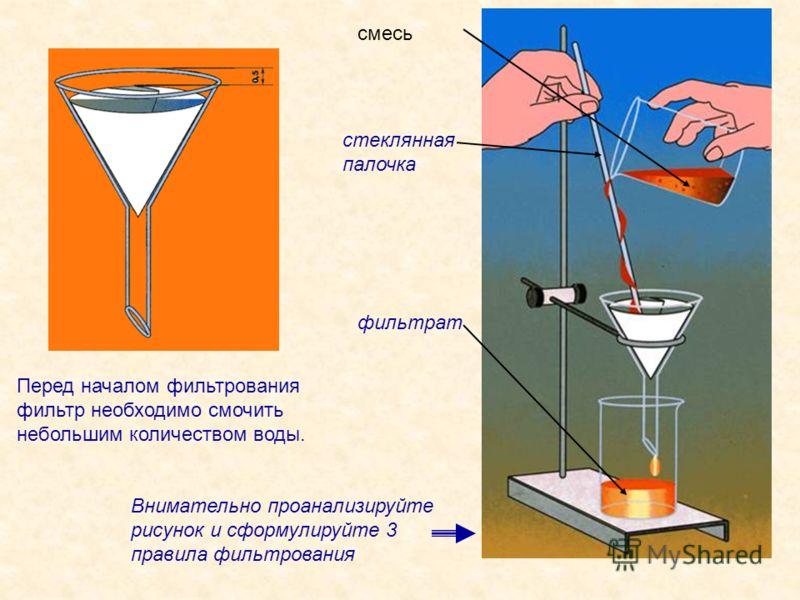 Перед началом фильтрования фильтр необходимо смочить небольшим количеством воды. Внимательно проанализируйте рисунок и сформулируйте 3 правила фильтрования смесь фильтрат стеклянная палочка