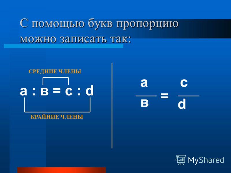 С помощью букв пропорцию можно записать так: а : в = с : d КРАЙНИЕ ЧЛЕНЫ СРЕДНИЕ ЧЛЕНЫ d а в с =
