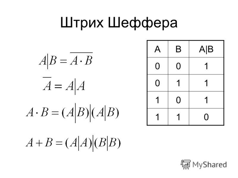 Штрих Шеффера ABA|B 001 011 101 110