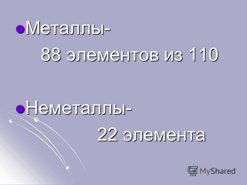 Металлы- Металлы- 88 элементов из 110 88 элементов из 110 Неметаллы- Неметаллы- 22 элемента 22 элемента