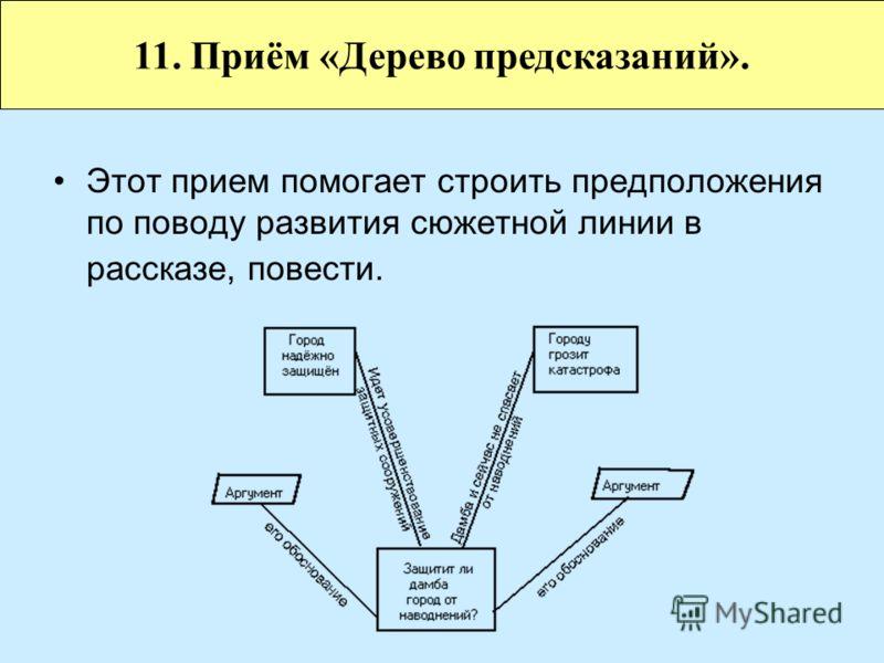 Этот прием помогает строить предположения по поводу развития сюжетной линии в рассказе, повести. 11. Приём «Дерево предсказаний».