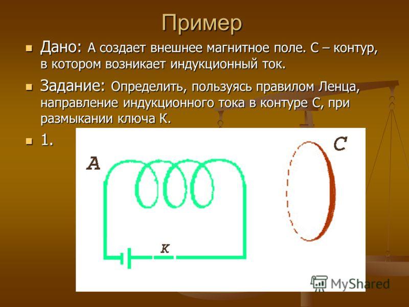 Пример Дано: А создает внешнее магнитное поле. С – контур, в котором возникает индукционный ток. Дано: А создает внешнее магнитное поле. С – контур, в котором возникает индукционный ток. Задание: Определить, пользуясь правилом Ленца, направление инду