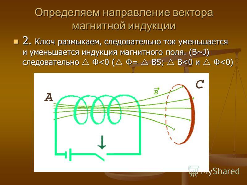 2. Ключ размыкаем, следовательно ток уменьшается и уменьшается индукция магнитного поля. (B~J) следовательно Ф