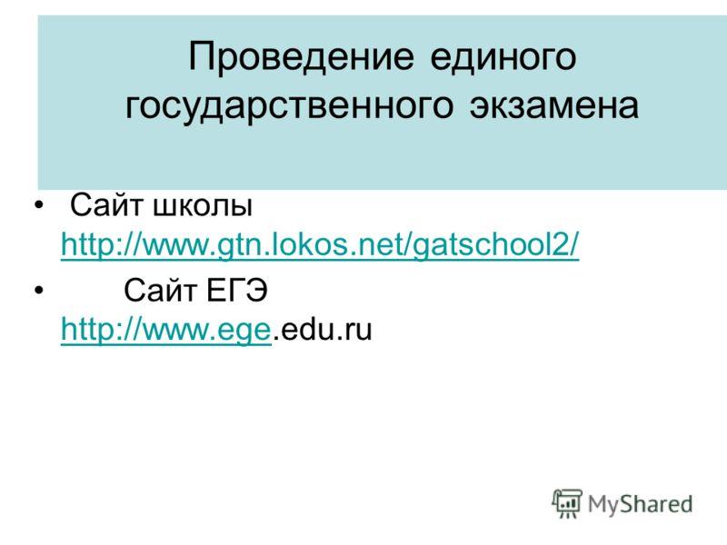 Проведение единого государственного экзамена Сайт школы http://www.gtn.lokos.net/gatschool2/ http://www.gtn.lokos.net/gatschool2/ Сайт ЕГЭ http://www.ege.edu.ru http://www.ege