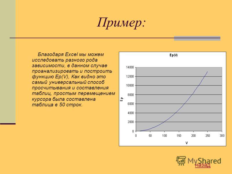 Пример: Благодаря Excel мы можем исследовать разного рода зависимости, в данном случае проанализировать и построить функцию Ep(V), Как видно это самый универсальный способ просчитывания и составления таблиц, простым перемещением курсора была составле