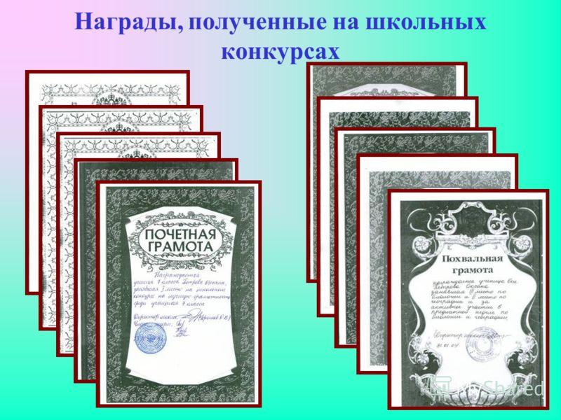 Награды, полученные на школьных конкурсах