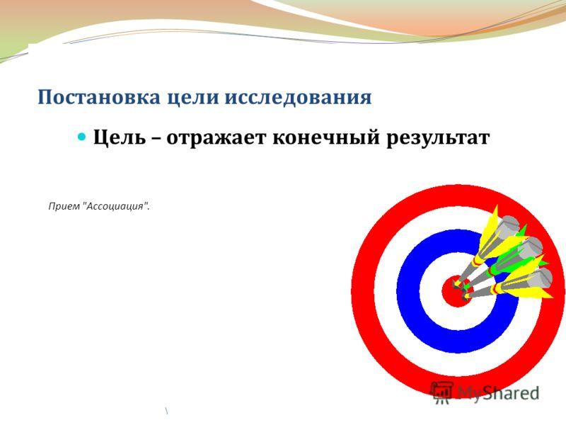 Постановка цели исследования Цель – отражает конечный результат \ Прием Ассоциация.