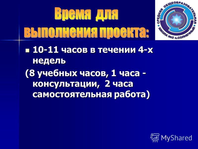 10-11 часов в течении 4-х недель 10-11 часов в течении 4-х недель (8 учебных часов, 1 часа - консультации, 2 часа самостоятельная работа)