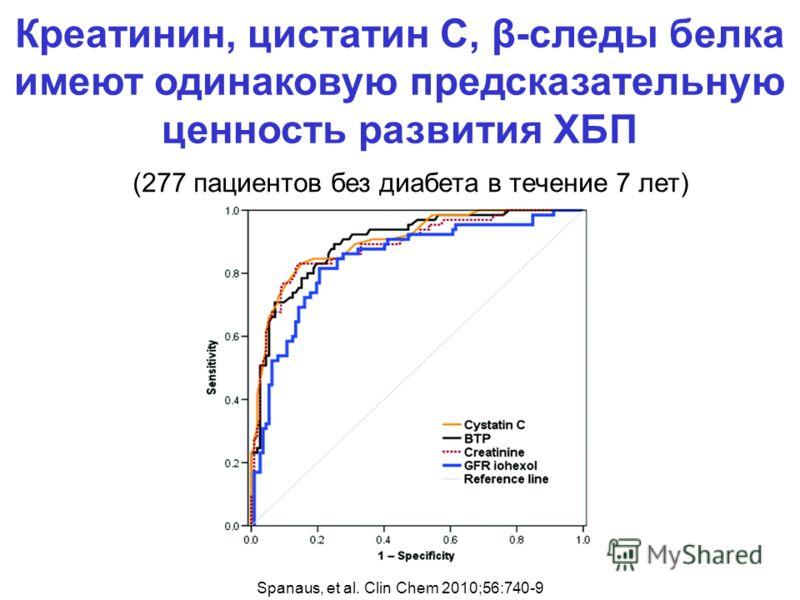 (277 пациентов без диабета в течение 7 лет) Spanaus, et al. Clin Chem 2010;56:740-9 Креатинин, цистатин С, β-следы белка имеют одинаковую предсказательную ценность развития ХБП