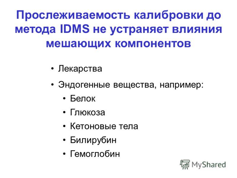 Лекарства Эндогенные вещества, например: Белок Глюкоза Кетоновые тела Билирубин Гемоглобин Прослеживаемость калибровки до метода IDMS не устраняет влияния мешающих компонентов