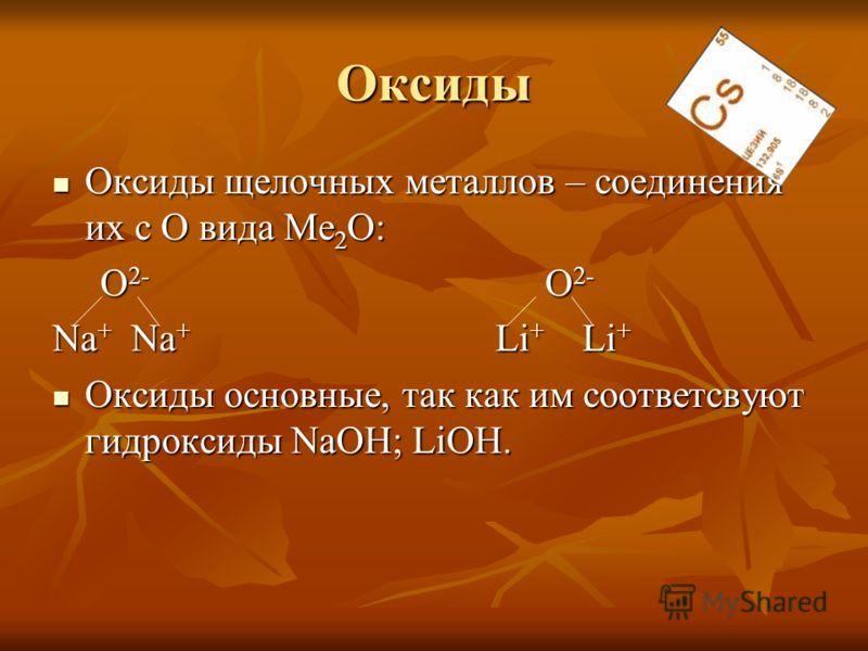 Оксиды Оксиды щелочных металлов – соединения их с О вида Ме 2 О: Оксиды щелочных металлов – соединения их с О вида Ме 2 О: О 2- О 2- О 2- О 2- Na + Na + Li + Li + Оксиды основные, так как им соответсвуют гидроксиды NaOH; LiOH. Оксиды основные, так ка