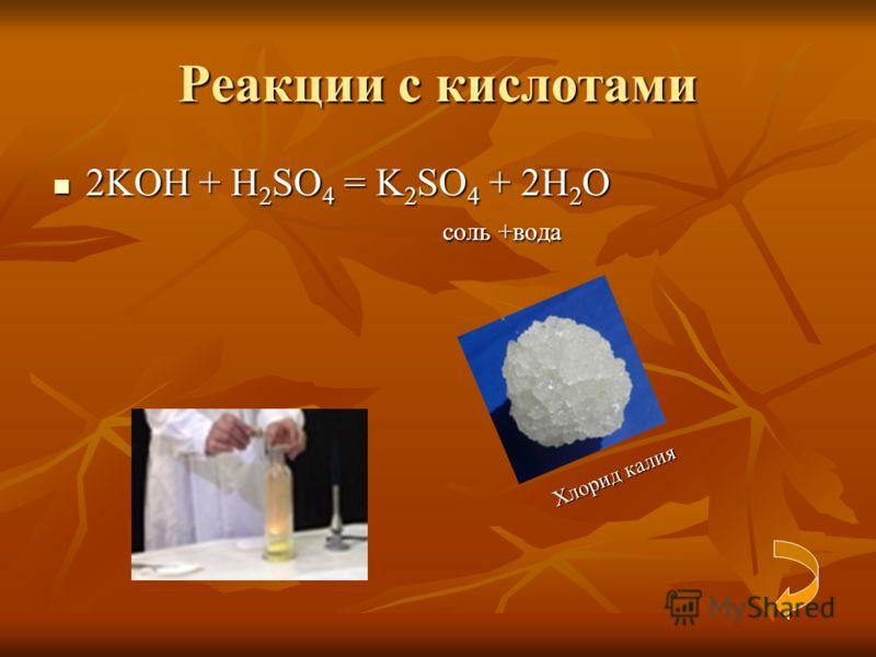 Реакции с кислотами 2KOH + H 2 SO 4 = K 2 SO 4 + 2H 2 O 2KOH + H 2 SO 4 = K 2 SO 4 + 2H 2 O соль +вода соль +вода Хлорид калия