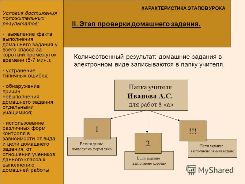 Если задание выполнено формально Условия достижения положительных результатов: - выявление факта выполнения домашнего задания у всего класса за короткий промежуток времени (5-7 мин.); - устранение типичных ошибок; - обнаружение причин невыполнения до
