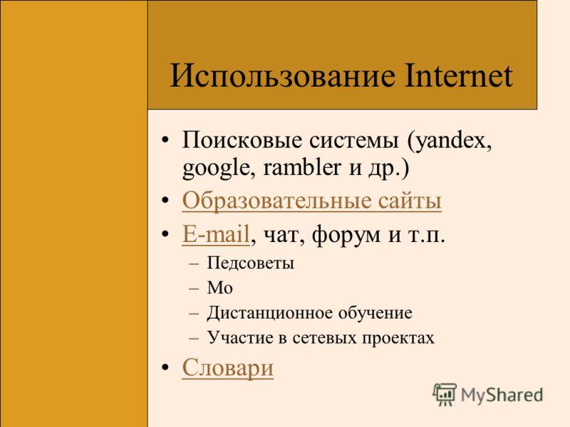 Использование Internet Поисковые системы (yandex, google, rambler и др.) Образовательные сайты E-mail, чат, форум и т.п.E-mail –Педсоветы –Мо –Дистанционное обучение –Участие в сетевых проектах Словари