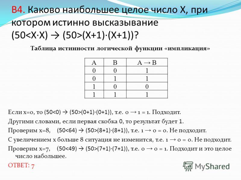 B4. Каково наибольшее целое число X, при котором истинно высказывание (50 (X+1)·(X+1))? Таблица истинности логической функции «импликация» Если х=0, то (50 (0+1)·(0+1)), т.е. 0 1 = 1. Подходит. Другими словами, если первая скобка 0, то результат буде