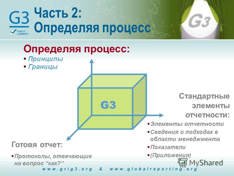 Часть 2: Определяя процесс Определяя процесс: Принципы Границы G3 Стандартные элементы отчетности: Элементы отчетности Сведения о подходах в области менеджмента Показатели (Приложения) Готовя отчет: Протоколы, отвечающие на вопрос как?