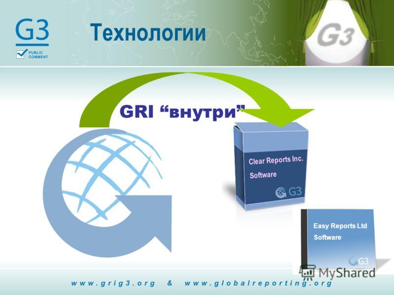 Технологии Clear Reports Inc. Software G3 Easy Reports Ltd Software G3 GRI внутри