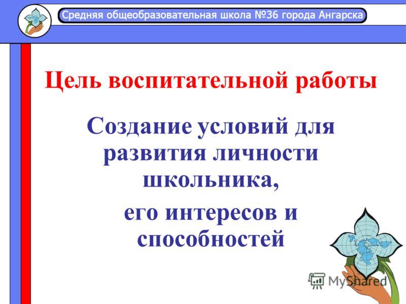 Цель воспитательной работы Создание условий для развития личности школьника, его интересов и способностей