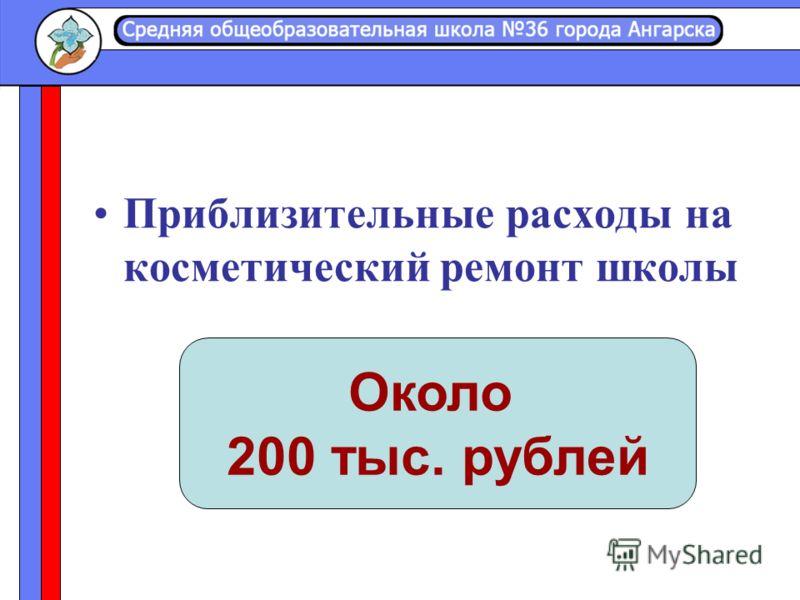 Приблизительные расходы на косметический ремонт школы Около 200 тыс. рублей