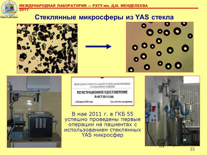 22 Стеклянные микросферы из YAS стекла В мае 2011 г. в ГКБ 55 успешно проведены первые операции на пациентах с использованием стеклянных YAS микросфер МЕЖДУНАРОДНАЯ ЛАБОРАТОРИЯ РХТУ им. Д.И. МЕНДЕЛЕЕВА 2011