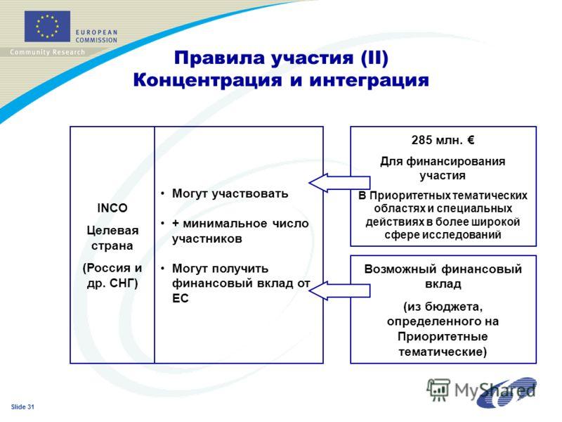 Slide 31 Правила участия (II) Концентрация и интеграция INCO Целевая страна (Россия и др. СНГ) Могут участвовать + минимальное число участников Могут получить финансовый вклад от ЕС 285 млн. Для финансирования участия В Приоритетных тематических обла