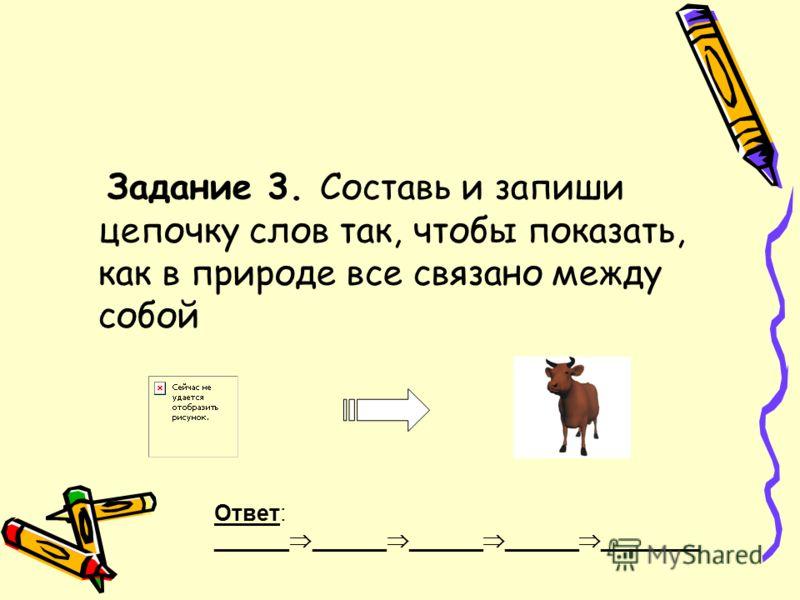 Задание 3. Составь и запиши цепочку слов так, чтобы показать, как в природе все связано между собой Ответ: ______ ______ ______ ______ ________