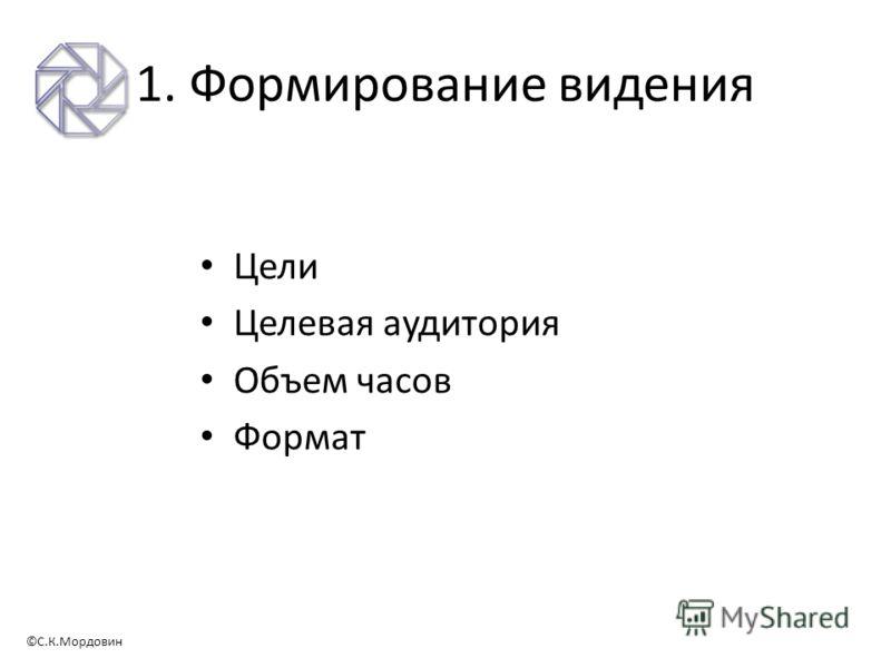 ©С.К.Мордовин 1. Формирование видения Цели Целевая аудитория Объем часов Формат