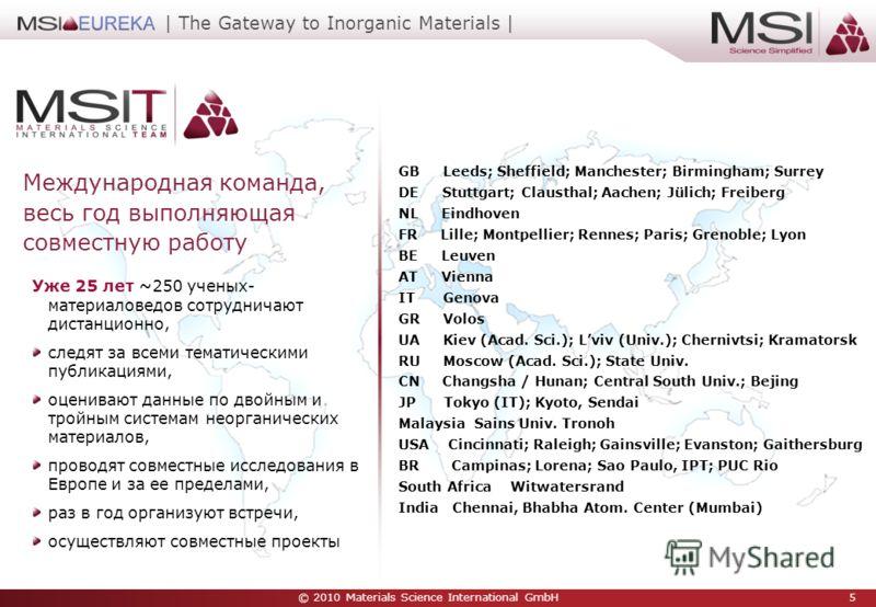 © 2010 Materials Science International GmbH 5 | The Gateway to Inorganic Materials | Уже 25 лет ~250 ученых- материаловедов сотрудничают дистанционно, следят за всеми тематическими публикациями, оценивают данные по двойным и тройным системам неоргани