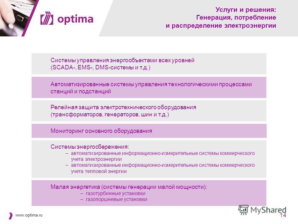 www.optima.ru 14 Услуги и решения: Генерация, потребление и распределение электроэнергии Автоматизированные системы управления технологическими процессами станций и подстанций Системы управления энергообъектами всех уровней (SCADA-, EMS-, DMS-системы