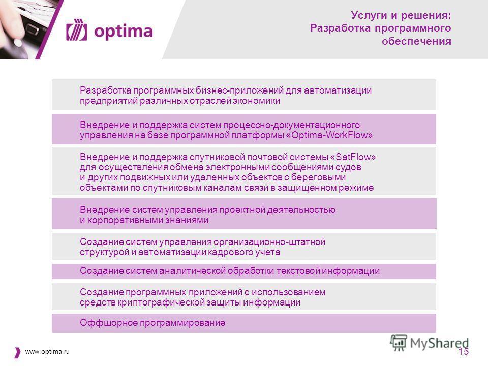 www.optima.ru 15 Услуги и решения: Разработка программного обеспечения Разработка программных бизнес-приложений для автоматизации предприятий различных отраслей экономики Внедрение и поддержка систем процессно-документационного управления на базе про