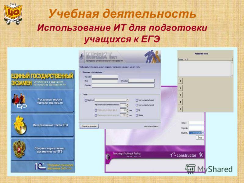 Учебная деятельность Использование ИТ для подготовки учащихся к ЕГЭ