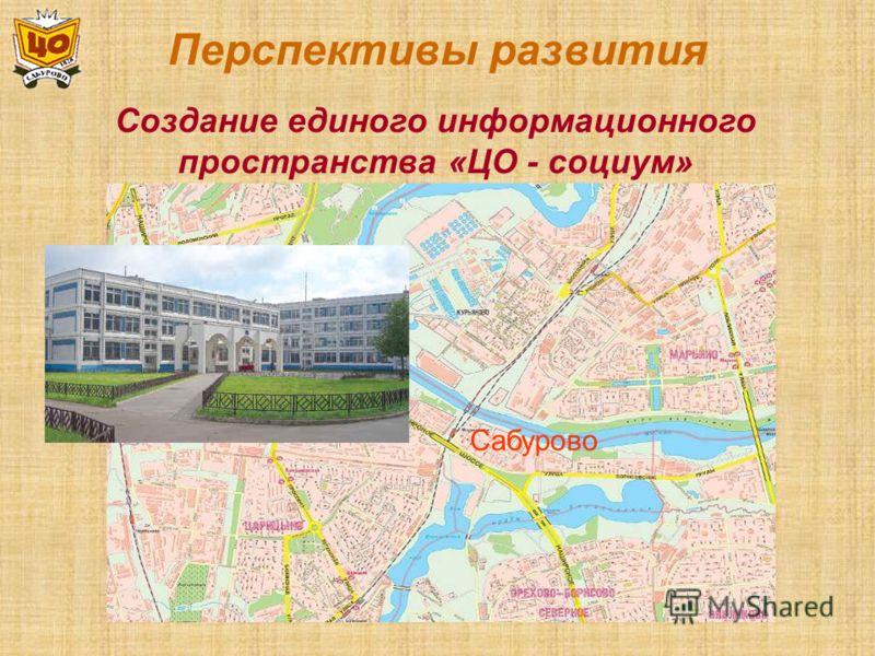 Перспективы развития Создание единого информационного пространства «ЦО - социум» Сабурово