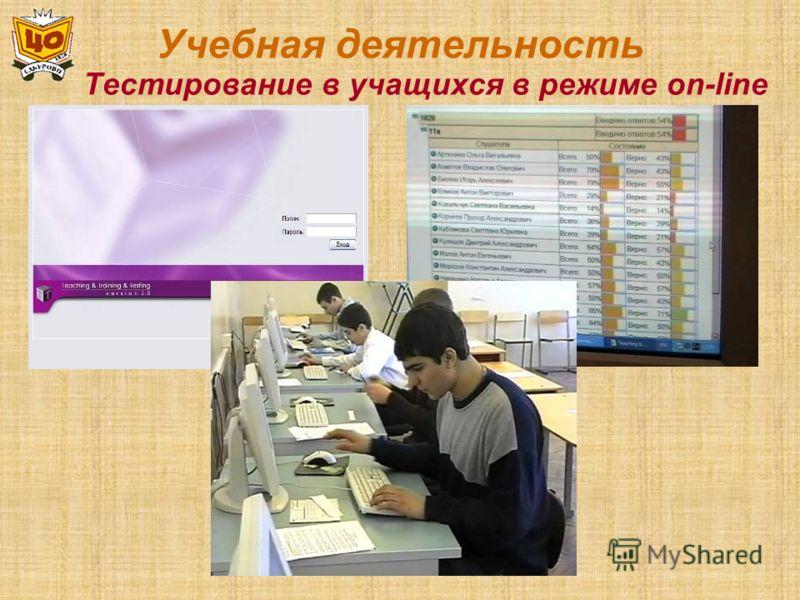 Учебная деятельность Тестирование в учащихся в режиме on-line